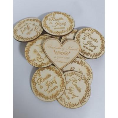 Svadobné magnetky drevené